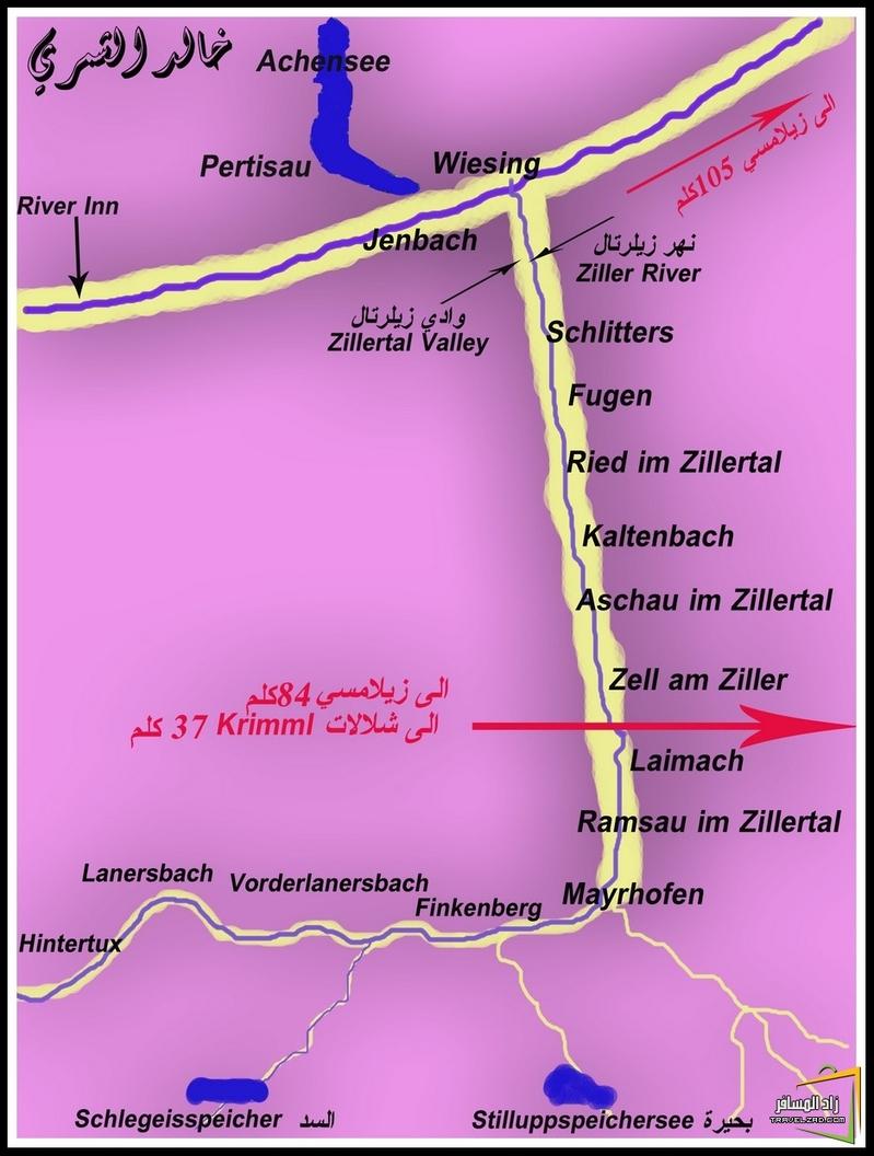 خارطة توضح موقع وادي زيلرتال والقرى